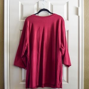 Woman Within Tops - Deep Rose Ruched V-Neck 3/4 Sleeve Tee